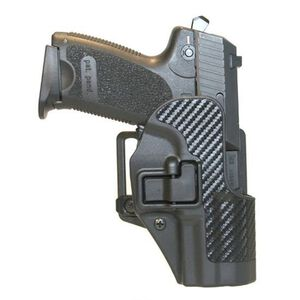 BLACKHAWK! CQC SERPA Belt Holster 1911 Commander Right Hand Carbon Fiber Belt Loop and Paddle Black 410042BK-R