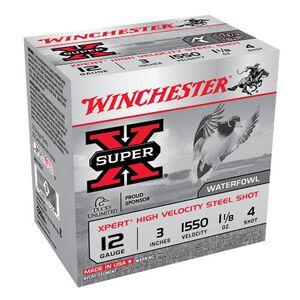 "Winchester 12 Gauge Ammunition 25 Rounds 3.00"" #4 Steel Shot 1.125 oz."