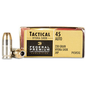 Federal Premium .45 ACP Ammunition 20 Rounds Hydra-Shok JHP 230 Grains P45HS1