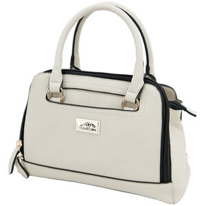 "Cameleon Belladonna Purse with Concealed Carry Gun Compartment 13""x10""x4"" Synthetic Leather Cream"