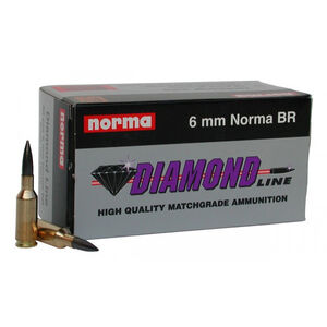 Norma Diamond Line 6mm BR Norma Ammunition 50 Rounds 105 Grain Coated Hollow Point 2789fps
