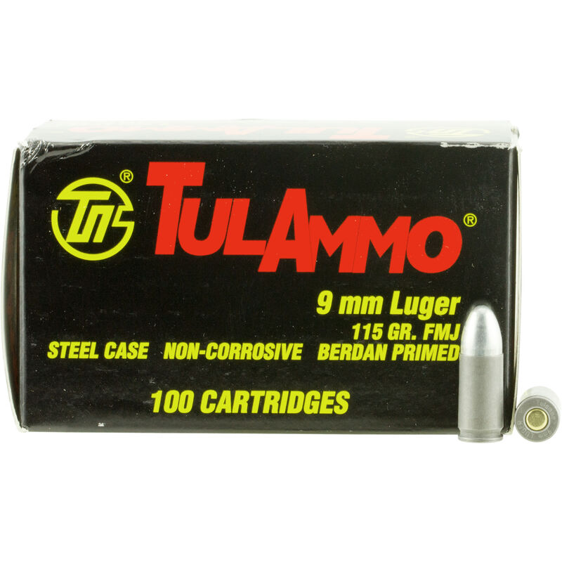 TulAmmo 9mm Ammunition 100 Rounds, Steel Case FMJ, 115 Grains