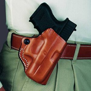 Desantis 019 Mini Scabbard Belt Holster For GLOCK 19/23/32/38 Right Hand Leather Tan 019TAB6Z0