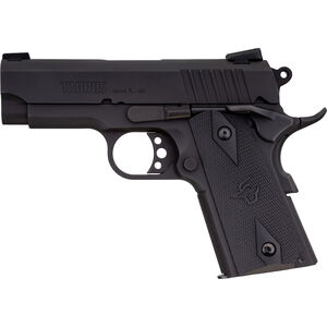 """Taurus 1911 Officer 9mm Luger Semi Auto Pistol 3.5"""" Barrel 8 Rounds Novak Style Sights Steel Frame Synthetic Grips Matte Black Finish"""