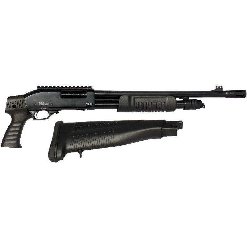 "Iver Johnson PAS12 Self Defense Pump Action Shotgun 12 Gauge 18"" Barrel 4 Rounds Polymer Pistol Grip Stock with Picatinny Rail Blued Finish GPAS12PG"