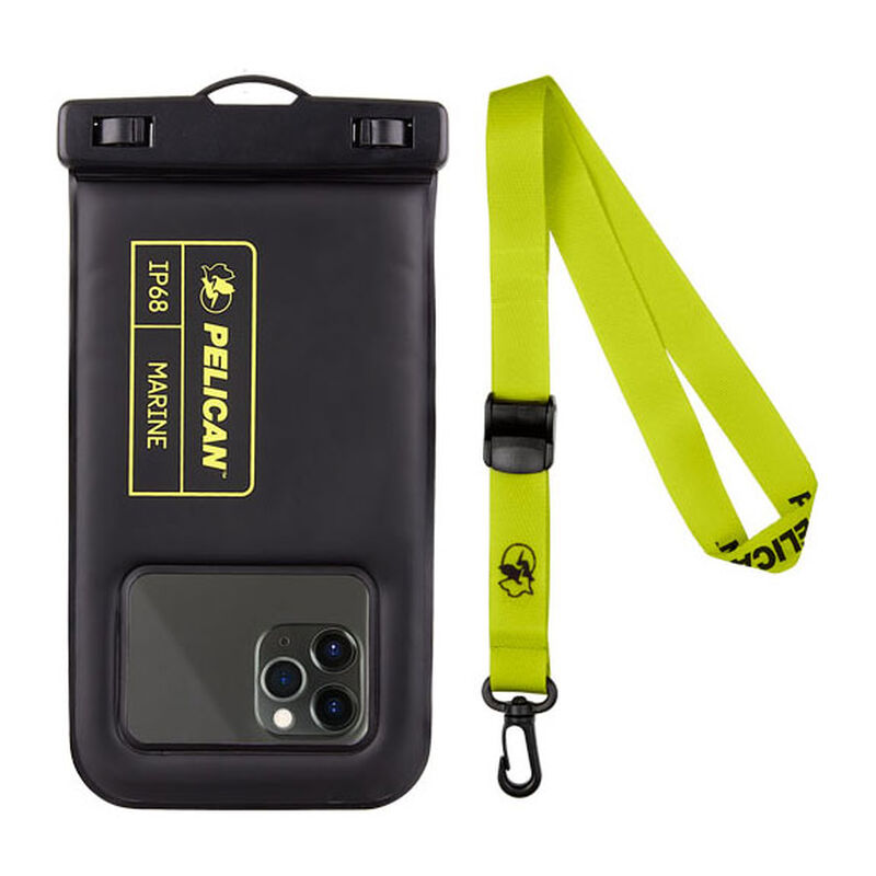 Pelican Outdoor Marine Waterproof Floating Pouch for Mobile Phones, Black/Lime