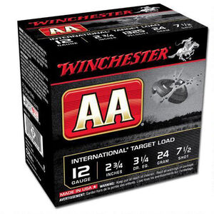 "Winchester AA International 12 Gauge Ammunition 250 Rounds 2.75"" #7.5 Lead 24 Grams AANL127"