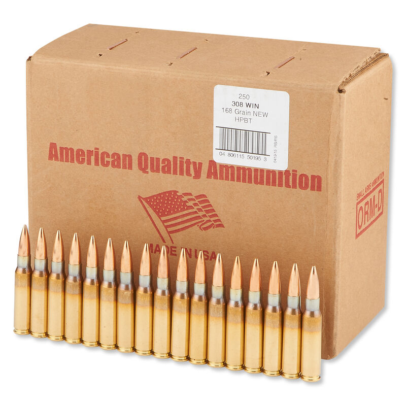 American Quality  308 Winchester Ammunition 250 Rounds Speer BTHP 168  Grains N308168VP250