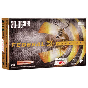 Ammo .30-06 Springfield Federal Vital-Shok Barnes TSX Lead Free 165 Grain 20 Round Box 2800 fps P3006AF