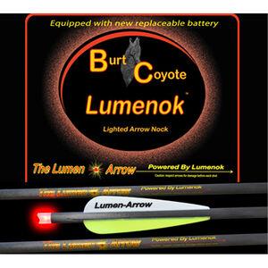 "Lumenoks Burt Coyote Red Crescent Illuminated Crossbow Bolt 20"" Carbon RB-425 Battery 319 Grains 3 Pack BECC3"