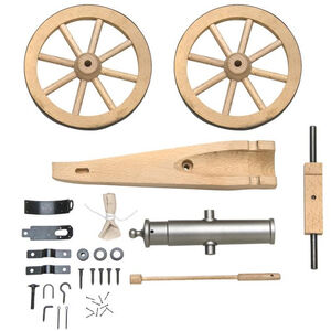 """Traditions Mountain Howitzer Black Powder Cannon Kit .50 Cal 6.75"""" Barrel Wooden Carriage 6"""" Wheels Steel"""