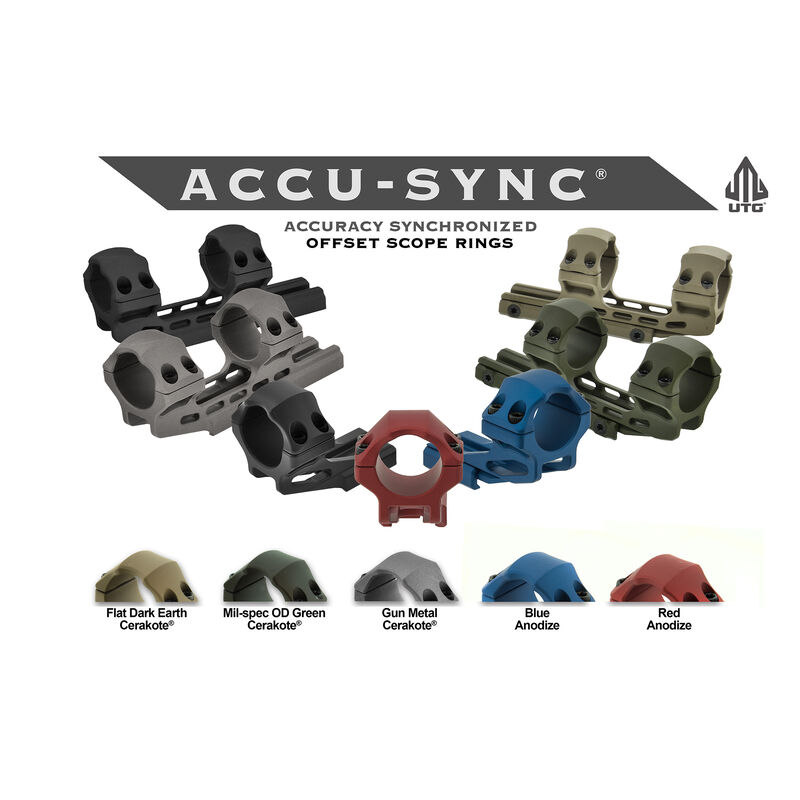 UTG ACCU-SYNC 30mm Medium Profile 50mm Offset Pic. Rings, Red