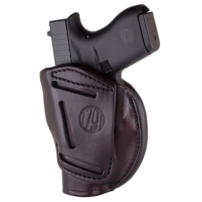 """1791 Gunleather 4 Way WH-1 Multi-Fit IWB/OWB Concealment Holster for 3""""/4"""" 1911 Models Right Hand Draw Leather Signature Brown"""