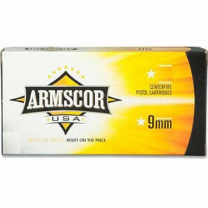 Armscor USA 9mm Luger Ammunition 50 Rounds FMJ 115 Grains