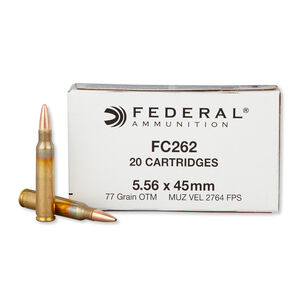 Federal Lake City 5.56 NATO Ammunition 20 Rounds OTM 77 Grains FC262