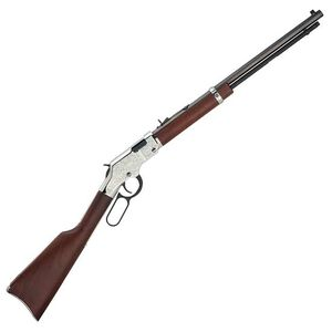 "Henry Silver Eagle Lever Action Rifle .17 HMR 20"" Octagonal Barrel 12 Rounds Nickel Engraved Receiver  Walnut Stock Blued H004SEV"