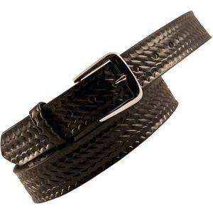"""Boston Leather 6582 Off Duty Leather Garrison Belt 50"""" Nickel Buckle Basket Weave Leather Black 6582-3-50"""
