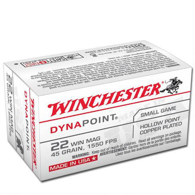 Winchester Dynapoint .22 WMR Ammunition 50 Rounds, CPHP, 45  Grain