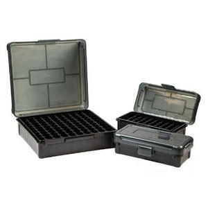 Frankford Arsenal Plastic 50 Round Hinge-Top Ammo Boxes Fits .40 S&W/.45 ACP Polymer Gray