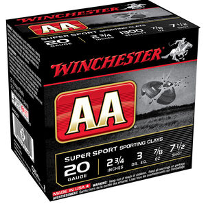 "Winchester AA Super Sport 20 Gauge Ammunition 100 Round Value Pack 2-3/4"" Shell #7.5 Lead Shot 7/8 oz 1300fps"