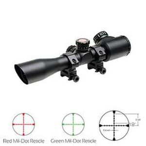 "TRUGLO Tru-Brite Tactical Xtreme 4x32 Riflescope Illuminated Mil Dot 1"" Tube 1/4 MOA Matte Black Finish TG8504TL"