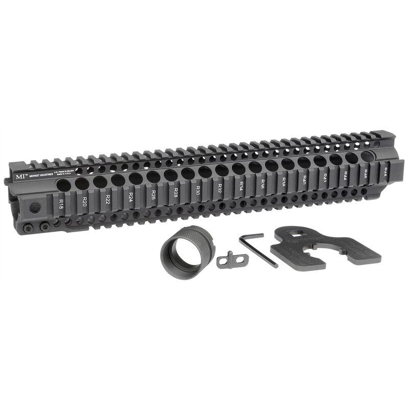 "Midwest Industries AR-15 Combat Rail T-Series 14"" One Piece Free Float Hand Guard 6061 Aluminum Hard Coat Anodized Matte Black Finish"