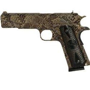 "Iver Johnson 1911A1 Copperhead Semi Auto Handgun .45 ACP 5"" Barrel 8 Rounds Checkered Wood Grips Black Copperhead Snakeskin Finish IJCH"