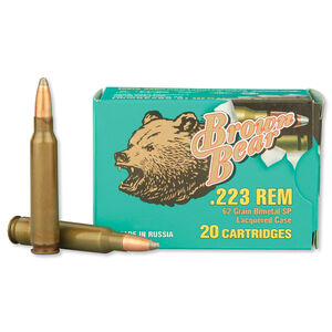 Brown Bear .223 Remington Ammunition 20 Rounds, Steel Case SP, 62 Grain