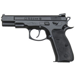 """CZ 75 B Omega Convertible Semi Auto Pistol 9mm Luger 4.6"""" Barrel 16 Rounds Fixed Three-Dot Sights Swappable Ambidextrous Safety/Decocker Steel Frame Polymer Grips Matte Black Finish"""