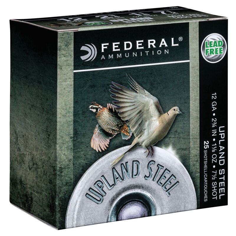 """Federal Upland Steel 12 Gauge Ammunition 2-3/4"""" #7.5 1-1/8 Ounce Steel Shot 1400 fps"""