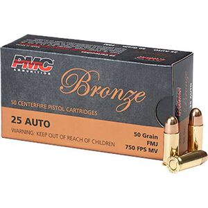 PMC Bronze .25 ACP Ammunition 50 Rounds Full Metal Jacket 50 Grains 25A