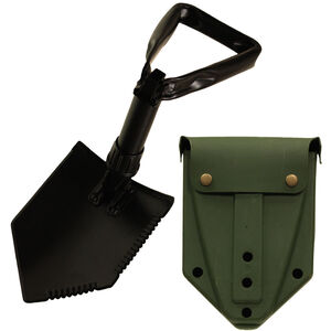 Red Rock Outdoors Military Tri-Fold Shovel Serrated Edges Black Steel Construction Case with Alice Clips