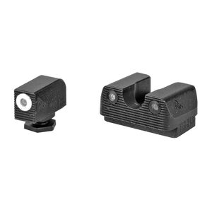 Rival Arms Tritium Handgun Night Sights for GLOCK 17/19 MOS White Front Ring CNC Machined Stainless Steel Billet Matte Black Finish