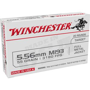 Winchester USA 5.56 NATO Ammunition 20 Rounds FMJ 55 Grains WM193