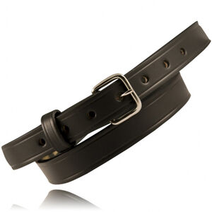 "Boston Leather 6581 1"" Off Duty Leather 48"" Waist Nickel Buckle Basket Weave Leather Black"