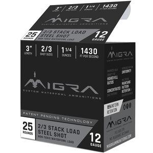 """Migra Ammunition 12 Gauge 3"""" #2/3 Steel Shot 1-1/4 oz 1430 fps"""