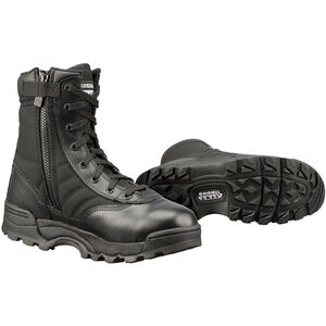 "Original S.W.A.T. Classic 9"" Side Zip Men's Boot Size 8.5 Regular Non-Marking Sole Leather/Nylon Black 115201-85"