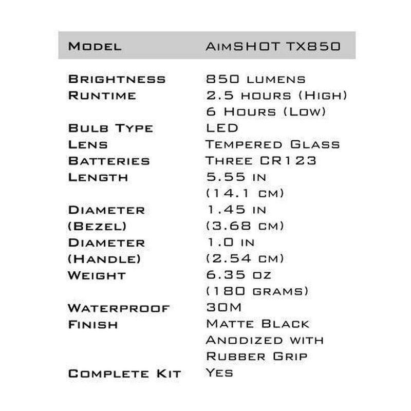 AimSHOT TX850 CREE White LED Flashlight