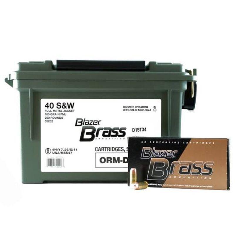 CCI Blazer Brass .40 S&W Ammunition 250 Rounds FMJ 180 Grains 52202