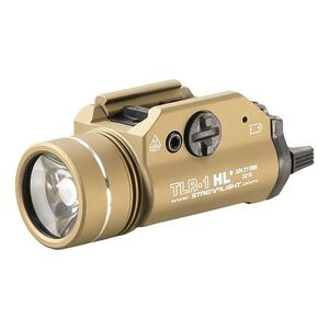 Streamlight TLR-1 HL LED Tactical Weaponlight 800 Lumen White Light Output 2x CR123A Lithium Batteries Toggle Switch Picatinny Mount Aluminum Body Flat Dark Earth 69266