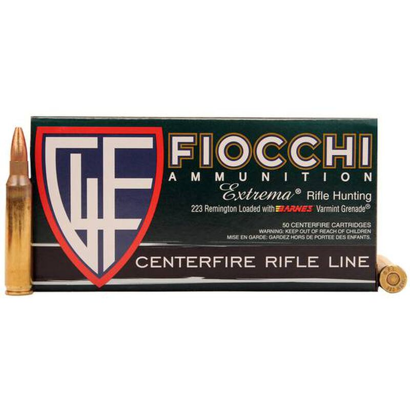 50 Rounds of Fiocchi Extrema .223 Rem Ammunition 50 Grain Lead Free Barnes Varmint Gernade 3300 fps