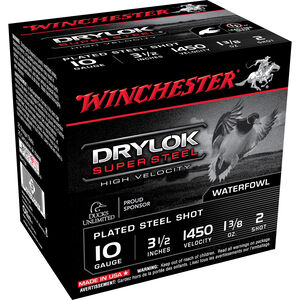 "Winchester Drylok HV 10ga 3-1/2"" #2 Steel 1-3/8oz 250 Rnds"
