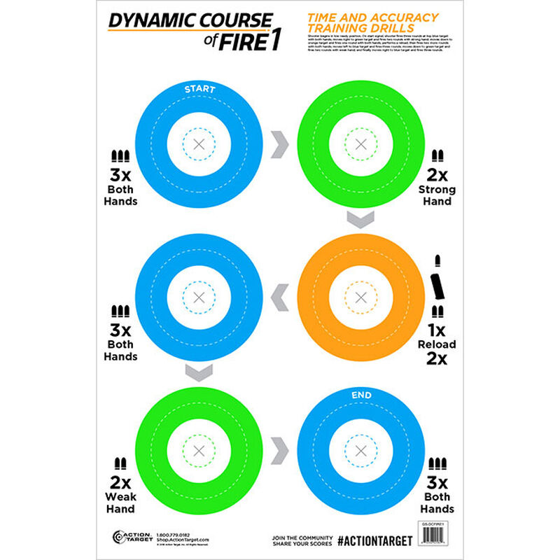 """Action Target Dynamic Course of Fire 1 Target 23"""" x 35"""" Blue Green Orange 100 Pack"""