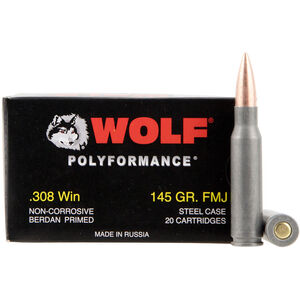 Wolf Polyformance .308 Win Ammunition 145 Grain Bi-Metal FMJ Steel Case 2800 fps