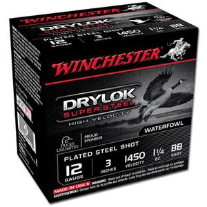 "Winchester Drylok 12 Ga 3"" BB Steel 1.25oz 25 Rounds"