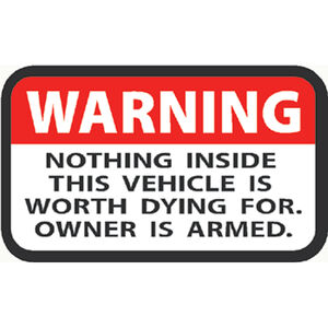 """Outdoor Decals """"Warning Owner Is Armed"""" Decal 2""""x3"""" Vinyl Red/Black on White 4 Pack"""