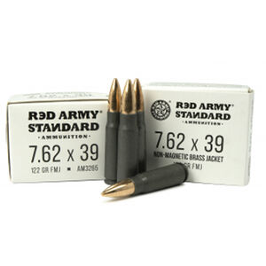 Red Army Standard 7.62x39mm Ammunition 20 Rounds 122 Grain Full Metal Jacket Boat Tail Steel Cased Non-Magnetic Brass Jacket
