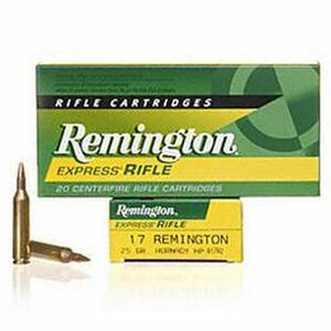 Ammo .17 Rem Remington Express Rifle 25 Grain HP Bullet 4040 fps 20 Rounds R17R2