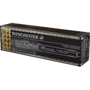 Winchester Super Suppressed .22LR Ammunition 45 Grain Black Copper Plated LRN 1090 fps