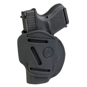 1791 Gunleather 4 Way WH-3 Multi-Fit IWB/OWB Concealment Holster for 9mm Luger/.40 S&W Sub Compact Semi Auto Models Right Hand Draw Leather Stealth Black